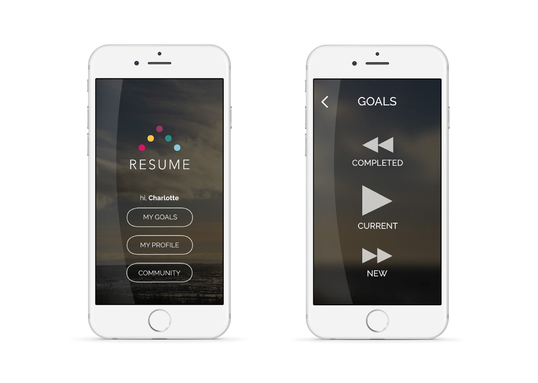 App screens home and goal choice
